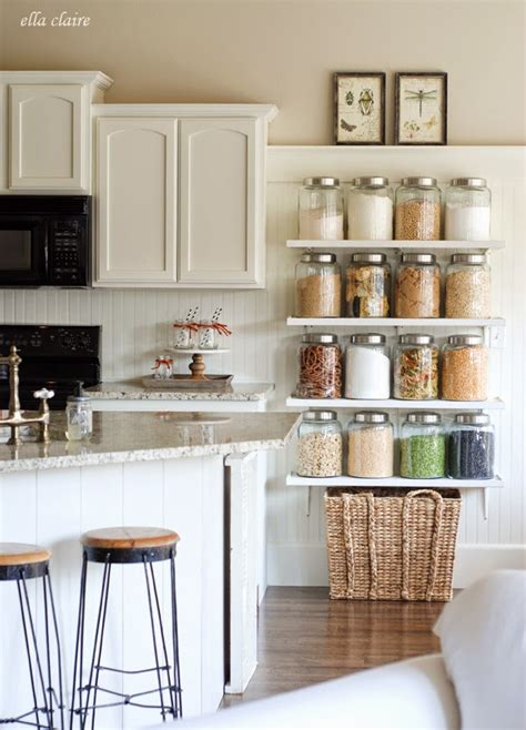 diy kitchen shelving ideas diy country store kitchen shelves more pantry space ella claire