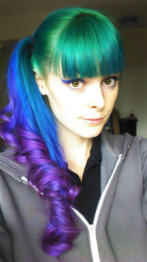 Pretty Green Blue And Purple Dyed Ponytail With Bangs