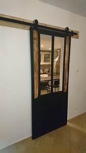 Porte Coulissante Applique : porte coulissante bois metal le bois chez vous ~ Carolinahurricanesstore.com Idées de Décoration