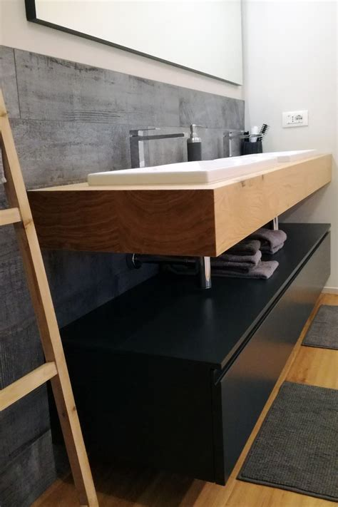 mensola da bagno mobile bagno con mensola in legno doppio lavabo