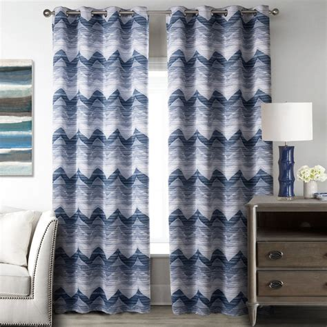 Blue and White Wave Polyester Print Striped Modern Chevron Curtains for Bedroom