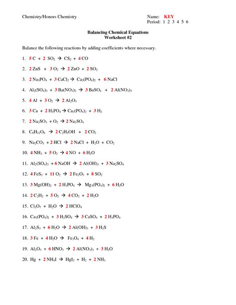 12 best images of balancing chemical equations worksheet