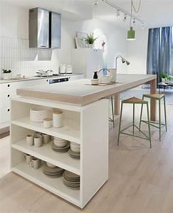 45 idees en photos pour bien choisir un ilot de cuisine for Idee deco cuisine avec meuble scandinave bois et blanc