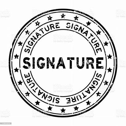 Signature Seal Stamp Word Rubber Round Grunge