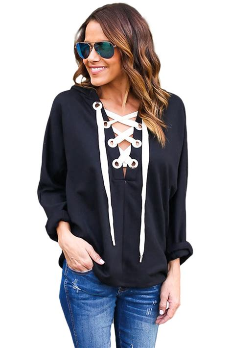 black loose lace  womens pullover hoodies