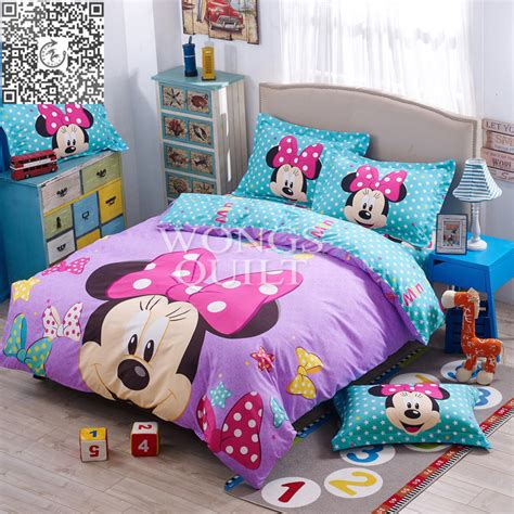 minnie mouse duvet cover flat sheet pillow sham bed set