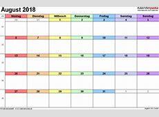 Kalender August 2018 als ExcelVorlagen