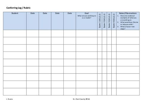 time log for student work and template in ms word conferring log template rubric
