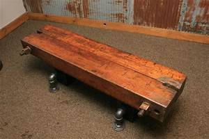 Steampunk coffee table modern furniture brickell for Wood beam coffee table
