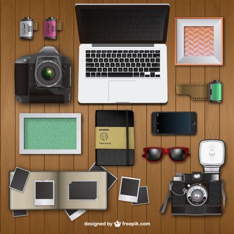 bureau photographe photographer desk vector free