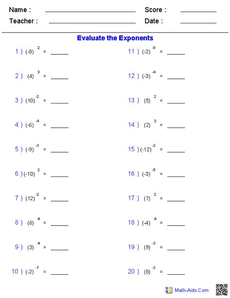 images  exponent rules worksheet exponents