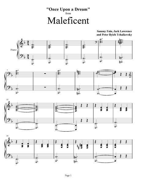 maleficent once upon a dream piano accompaniment