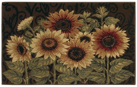 Kitchen Rugs Sunflowers by Shaw Brown 3x5 Sunflower Leaf Floral Kitchen Area Rug