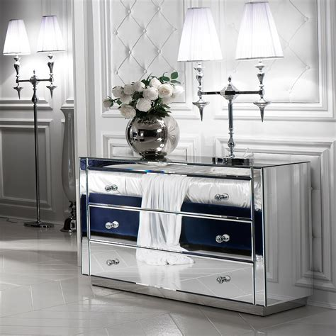 designer italian mirrored chest  drawers juliettes