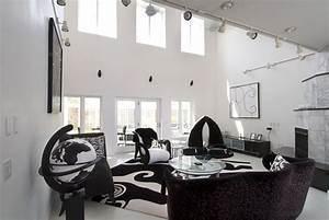 modern minimalist black and white living room interior With black and white interior design living room