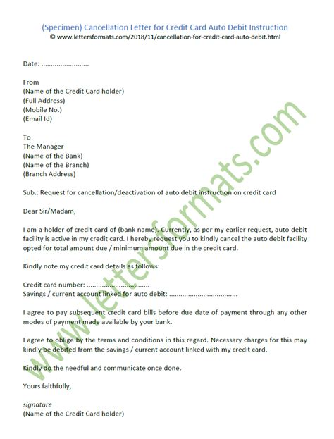 cancellation letter  credit card auto debit instruction