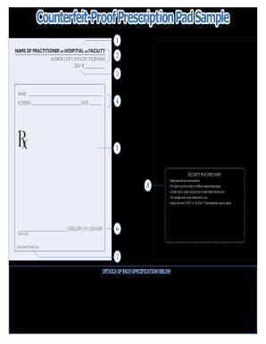 prescription pad template fill  printable