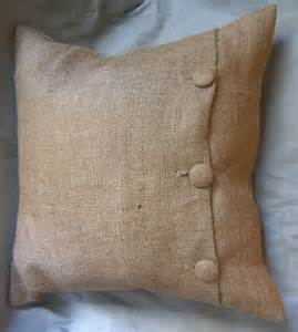 Burlap Pillow with Buttons