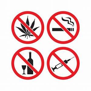Printed vinyl Set Of 4 Signs No Drugs No Smoking No ...