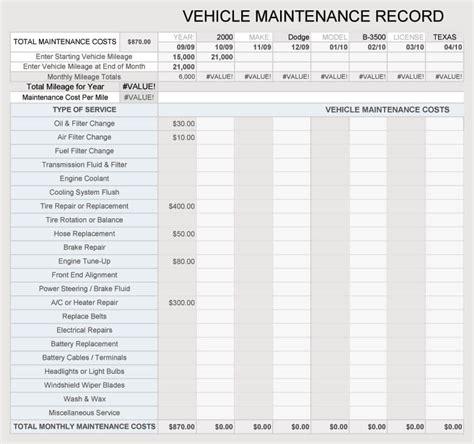 vehicle maintenance log service sheet templates