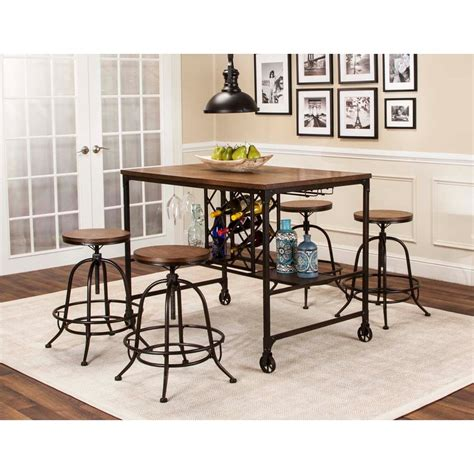 dining set with storage 5 counter height storage table and swivel stool 6714