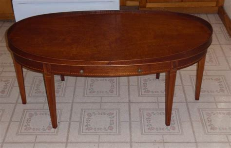 antique oval coffee table mersman mahogany oval one drawer inlay coffee table