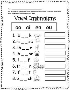Free Vowel Combinations Printable Worksheet  Education  1st Grade Worksheets, Phonics