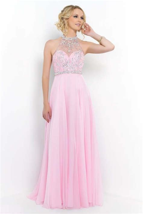 Crystal Pink Sparkly Beaded Illusion High Neck Blush 9990 ...