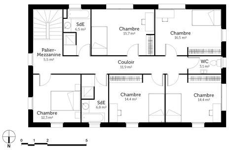 plan de maison à étage 4 chambres plan maison à étage 6 chambres ooreka