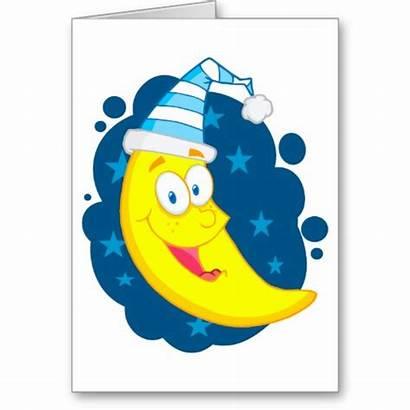 Moon Night Goodnight Clipart Happy Cartoon Card