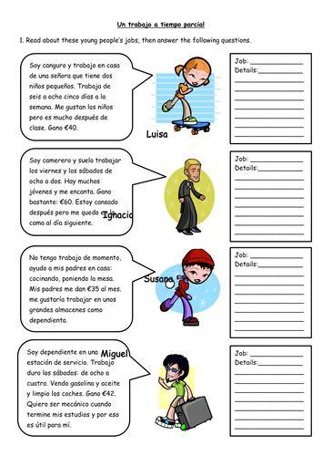 spanish part time jobs worksheet  missmittens teaching