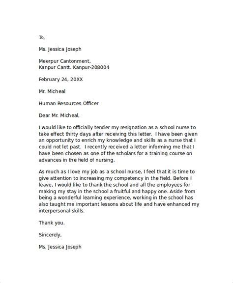sample nursing resignation letters  word