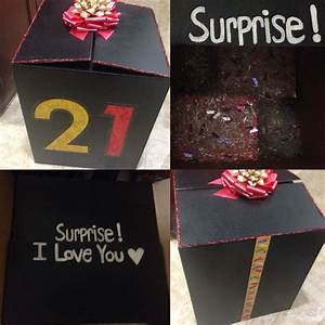 Decorated a giant box and stuffed presents inside for my ...