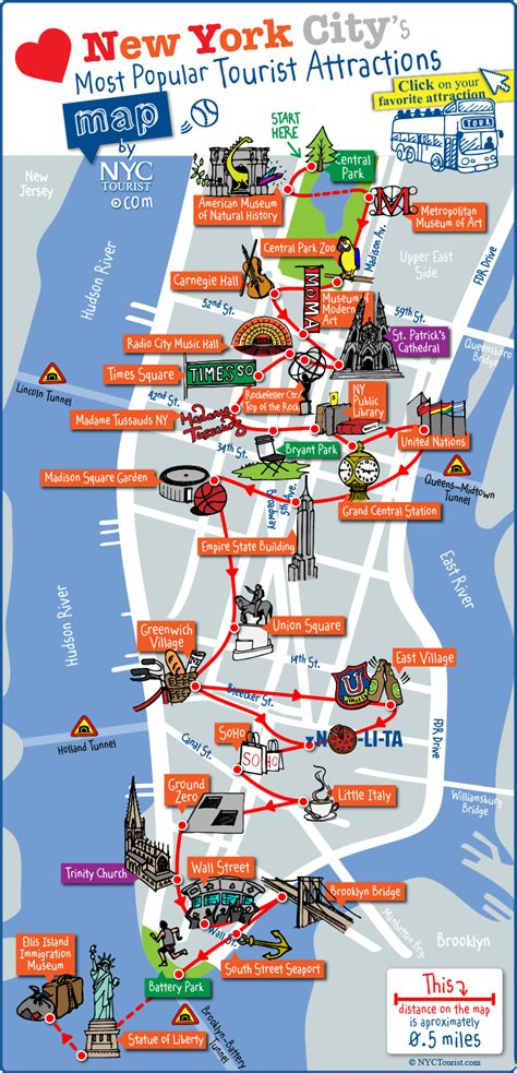 ny tourism bureau map of nyc tourist attractions sightseeing tourist tour