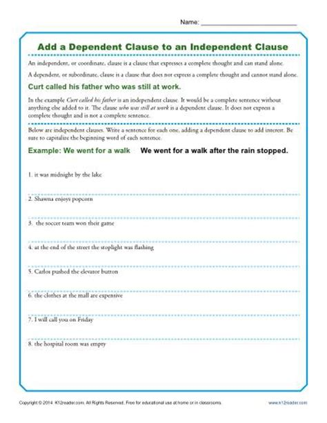 Add A Dependent Clause To An Independent Clause  Grammar Worksheets