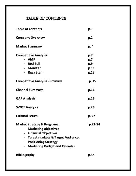 table of contents sle marketing plan amp energy