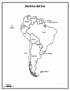 Mapa del continente Sur Americano con nombres para imprimir