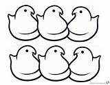 Peeps Coloring Chicks Simple Chick Template Candy Line Six Bettercoloring Sketch Credit Larger sketch template