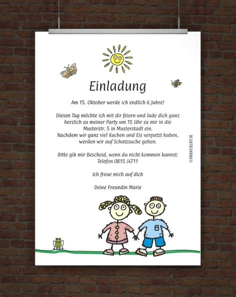 lustige kindergeburtstagseinladung mit einladungstext