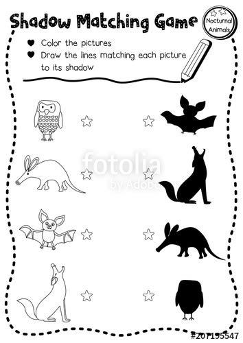 shadow matching game  nocturnal animals  preschool kids activity worksheet layout