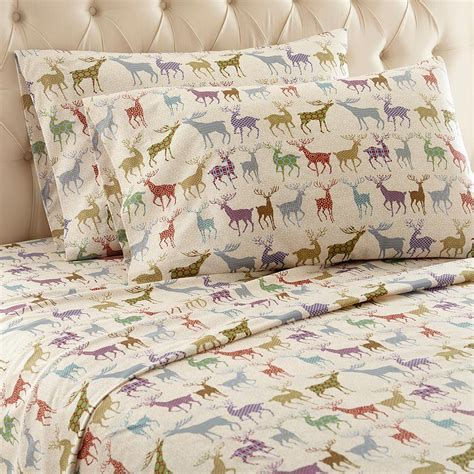 Micro Flannel 4 Piece Colorful Deer Full Polyester Sheet