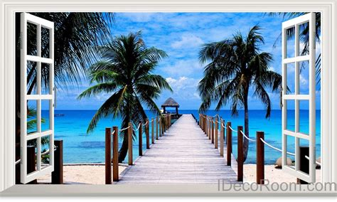 3d Window Ocean View Blue Sea Home Decor Wall Sticker: Palm Tree Beach Tropical Ocean Pier 3D Window View