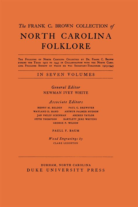 frank  brown collection  nc folklore vol