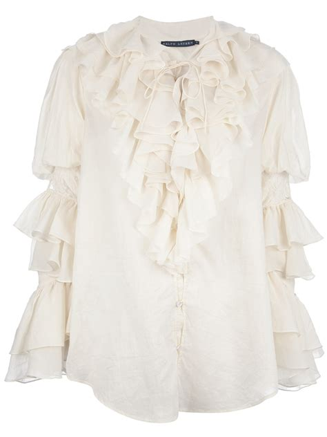 ruffled blouses ralph blue label ruffle blouse in beige lyst