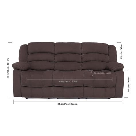 manual recliner 3 seat sofa chair slipcover home ergonomic