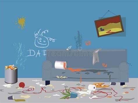 messy children bedroom stock vector illustration