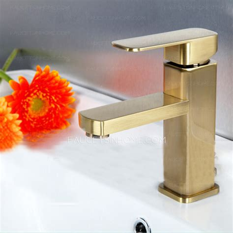 gold bathroom sink simple brushed gold square shaped bathroom sink faucet 12987