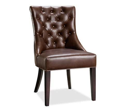 tufted leather chair pottery barn tufted leather dining side chair pottery barn