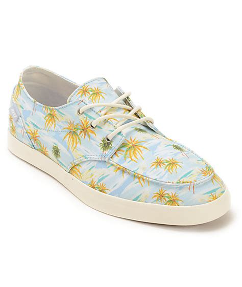 Reef Deckhand 2 Turquoise Aloha Boat Shoe by Reef Deck 2 Light Blue Aloha Boat Shoes