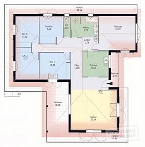 Maison de plain pied 1 Détail du plan de Maison de plain pied 1 Faire construire sa maison